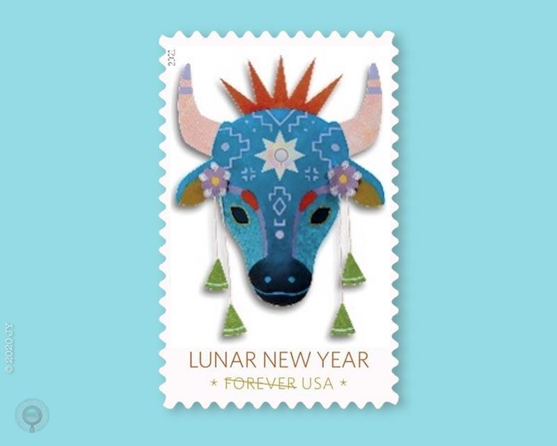 美国公布牛年生肖邮票图稿